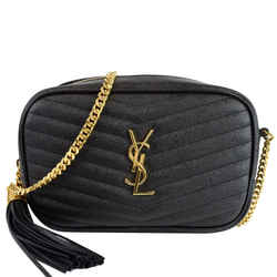 YVES SAINT LAURENT Mini Lou Leather Camera Crossbody Bag Black