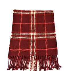 "BURBERRY: Scarlet Red, Cashmere ""Check"" Long Scarf with Fringe 58 "" x 12"" (sm)"