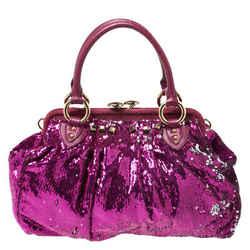 Marc Jacobs Fuchsia Sequins New York Rocker Stam Shoulder Bag