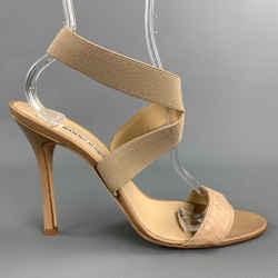 MANOLO BLAHNIK Size 10 Beige Snakeskin Strap Heel Sandals