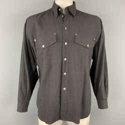 Vintage VERSACE JEANS COUTURE Size M Charcoal Viscose Blend Long Sleeve Shirt