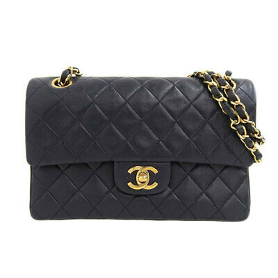 Auth Chanel Chanel Matrasse W Flap Chain Lambskin Shoulder Bag Navy Leather