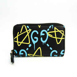 Gucci Gucci Ghost 448465 Leather Card Case Black,Blue,Yellow BF517115