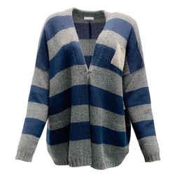 Brunello Cucinelli Navy and Grey Stripe Beaded Pocket Sweater