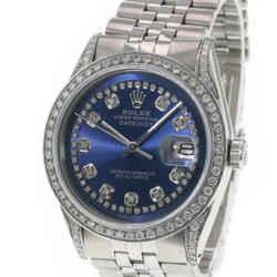 Rolex Men's Watch Datejust Stainless Steel Blue Dial Lugs Diamond Bezel 36mm