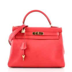 Kelly Handbag Rouge Vif Gulliver with Gold Hardware 32