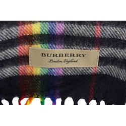 Burberry Navy x Rainbow Rare Pride Cashmere Classic  Nova Check Scarf 13bur1224