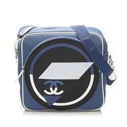 Vintage Authentic Chanel Blue Canvas Fabric CC Crossbody Bag France