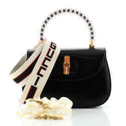 Crystal Bamboo Top Handle Bag Leather Medium