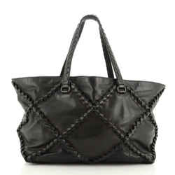 Open Tote Quilted Leather with Intrecciato Detail Medium