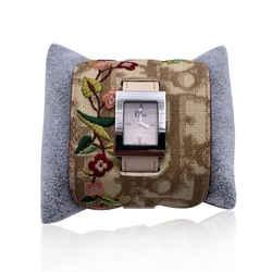 Christian Dior Beige Monogram Stainless Steel Wrist Watch D78 109