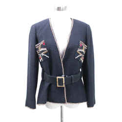 Chanel Black Rhinestone Wool Jacket Sz 42