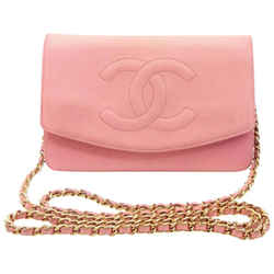 Chanel Pink Caviar CC Logo Wallet on Chain Flap Crossbody Bag  858272