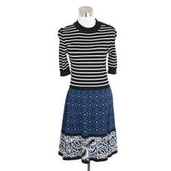 Red Valentino Black Striped and Blue Floral Print Dress SZ 2