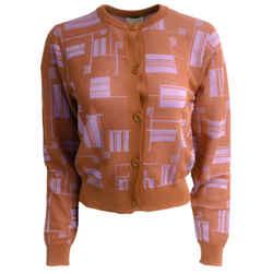 Dries van Noten Geometric Print Orange & Purple Sweater