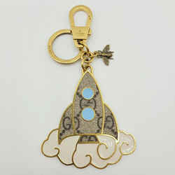 Gucci Gold Metal Supreme Gg Rocket Bee Keychain With Clouds 474167 8999
