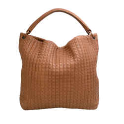 Bottega Veneta Top Handle Intrecciato Tan Leather Shoulder Bag