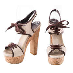 Gucci Winona Chunky Heels Sandals Brown/beige Size 5.5 Authenticity Guaranteed