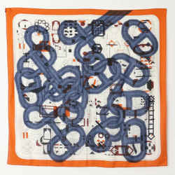 New Hermes Women Multicolor Carre Shale Dunkle Wool Silk Scarf