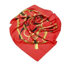 Red Hermes Printed Silk Scarf