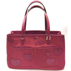 Anya Hindmarch   Strawberry Pink Canvas Bag With Leather Hearts Accent