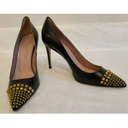 Gucci Black Stiletto Coline Pumps With Gold Stud Detail - Size 40.5 - New