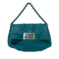 Blue Fendi Mia Leather Shoulder Bag