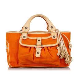 Vintage Authentic Celine Orange Canvas Fabric Boogie Handbag France