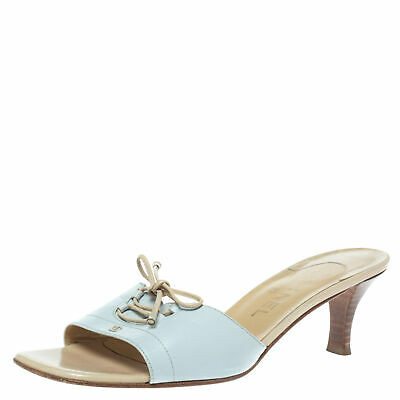 Chanel Powder Blue Leather Lace Bow And Cc Embellished Slide Sandals Size 39