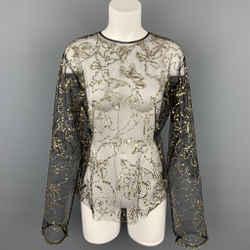 DRIES VAN NOTEN Size 6 Black & Gold Beaded Polyester Dress Top
