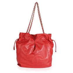Chanel Red Caviar Leather Timeless Drawstring Tote