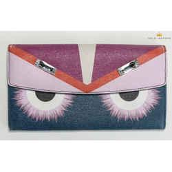 Fendi Monster Swarovski Saffiano Continental Wallet