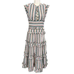 Proenza Schouler White/Green Multi Stripe/Fringe Casual Maxi Dress