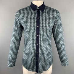 Dolce & Gabbana Size L Navy Print Cotton Button Up Long Sleeve Shirt