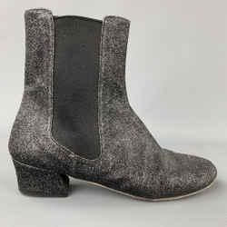 DRIES VAN NOTEN Size 9 Black Glittered Leather Boots
