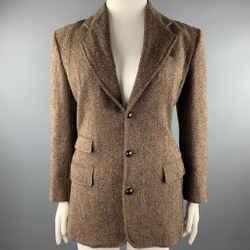 RALPH LAUREN Size XL Brown Tweed Herringbone Wool Blazer