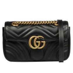 NEW Gucci Black GG Marmont Matelasse Mini Chevron Leather Crossbody Shoulder Bag