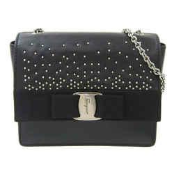 Auth Salvatore Ferragamo Ferragamo Leather Studs Chain Shoulder Bag Black Silver