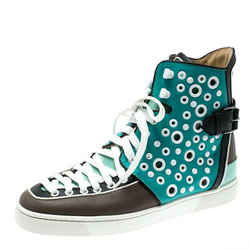 Christian Louboutin Multicolor Leather Alfibully High Top Sneakers Size 40.5
