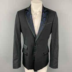 JUST CAVALLI Size 42 Black Stripe Peak Lapel Sport Coat