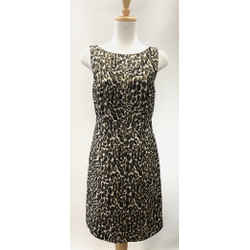 Authentic Tory Burch Black/gold Animal Print Dress Sz 4