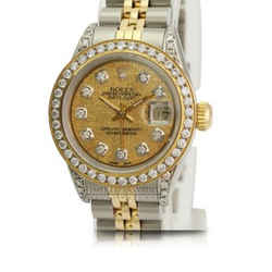 Rolex Lady Datejust Gold Meteorite Diamond Dial Lugs Bezel 26mm-quick