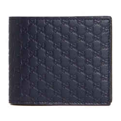 Gucci Blue Leather Micro Gg Guccissima Bifold Card Case Wallet