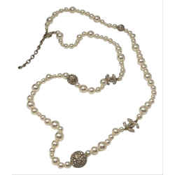 "Chanel Crystal Pearl Necklace 46""l X 1""w X 1""h"
