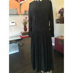 Chloe Karl Lagerfeld Black Silk Midi Dress 1984 Spring Vintage - 2217-10-6619