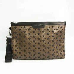Jimmy Choo DEREK Unisex Leather Studded Clutch Bag Black,Khaki BF531647