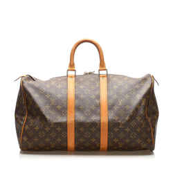 Vintage Authentic Louis Vuitton Brown Monogram Keepall 45 France