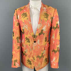 DRIES VAN NOTEN Size 38 Orange & Olive Metallic Jacquard Notch Lapel Sport Coat