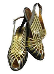Roberto Cavalli Gold Pewter and Strappy with Thin Platform Sandals Size: EU 41 (Approx. US 11) Regular (M, B) Item #: 22086456