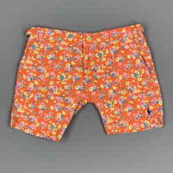 Polo By Ralph Lauren Size 30 Orange Floral Cotton / Nylon Zip Fly Swim Trunks
